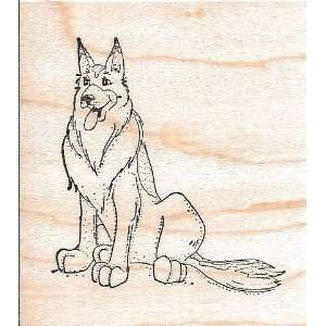 German Shepherd Dog Wood Mounted Rubber Stamp (G970)
