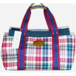 Tommy Hilfiger Md Iconic Tote (Denim/ Red Plaid) Authentic