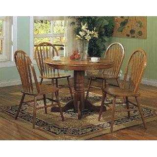 5pc Country Style Oak Finish Wood Round Dining Table +4 Windsor Chair