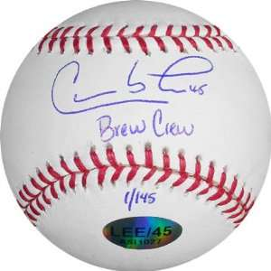 Carlos Lee Milwaukee Brewers Autographed Baseball with Brew Crew