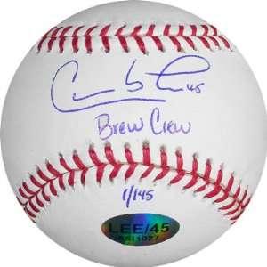 Carlos Lee Milwaukee Brewers Auographed Baseball wih Brew Crew