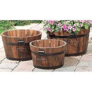 Mothers Day Gift Wood Barrel Planters   Set of 3