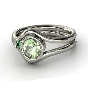 Sheltering Sky Ring, Round Green Amethyst Sterling Silver Ring with