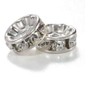 #9001 Silver Plated Crystal Rondelle 8mm (2) Arts, Crafts & Sewing
