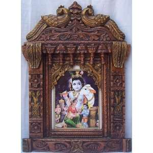 Yashoda & Child Lord Krishna Poster painting in wood craft