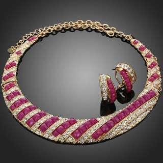 ARINNA Fuschia Stone Clear Rhinestone Necklace Earring Jewelry Set 18k
