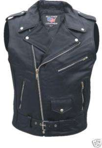 New Mens Black OUTLAW MUSCLE SLEEVELESS Biker Motorcycle Jacket Shirt
