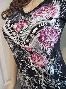 Heart Scrolls Wings Roses Silver Domes Rhinestones Tattoo Tee T Shirt