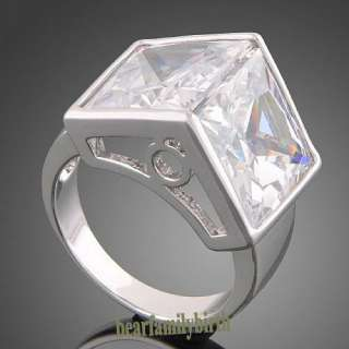 18K white GOLD GP Swarovski crystal zircon ring R8