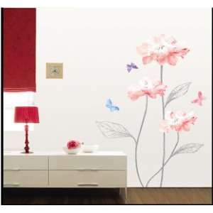 Decor Removable Decal Sticker   Sketched Stems and Vibrant Flowers