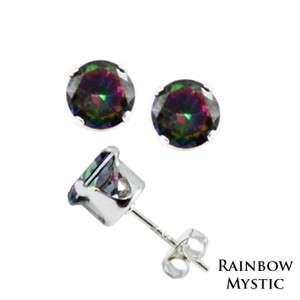 Silver Round Rainbow Mystic Topaz CZ Stud Earrings 4mm 5mm 6mm 7mm 8mm