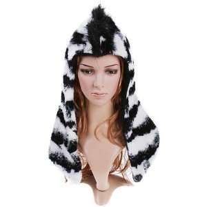 Zebra Half Hoodie Faux Fur by Animal Hood Everything Else
