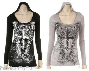 CRYSTAL CROSS SCROLLS ANGEL WINGS TATTOO KNIT HOODIE SHIRT & ED HARDY