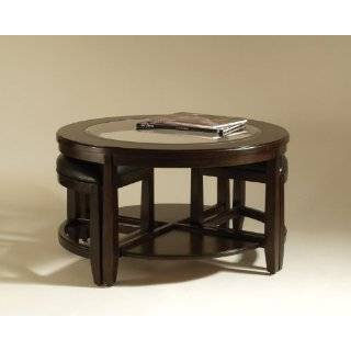 Solid Wood Glass Top Coffee Table w/ Stools Furniture