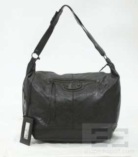 Balenciaga Black Lambskin Leather Courier Bag