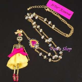 BETSEY JOHNSON Jewelry SKULL CRYSTAL BALLERINA SKELETON HEART ,Comes
