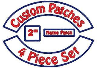 Embroidered Patch Set   Rockers Name MC Square   12 Motorcycle