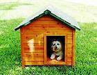 small outdoor dog house w flap door cedar wood doghouse