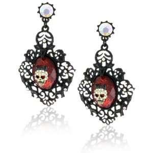 Betsey Johnson Dark Forest Red Crystal Skull Drop Earrings