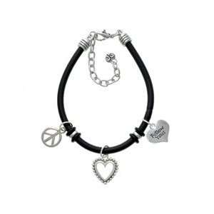 Follow Your Heart   Black Peace Love Charm Bracelet