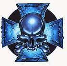 ELECTRIC BLUE IRON CROSS SKULL BIKER STICKER/Vinyl DECAL Art by Top