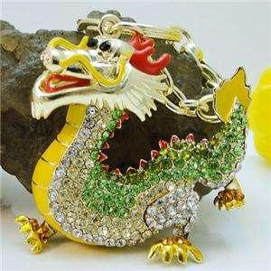 Dragon KEY Ring Chain w Swarovski Crystal Enamel Charm