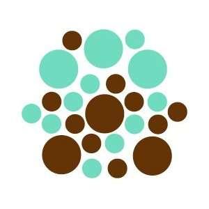 Chocolate Brown / Mint Green Circles Polka Dots Vinyl Wall Graphic