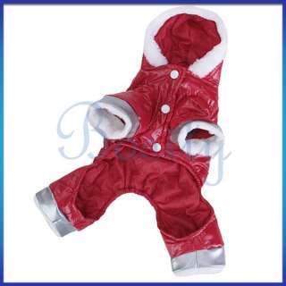 Pet Dog Hoodie Hooded Jumpsuit Winter Coat Jacket RED L
