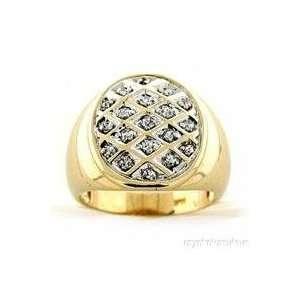 Mens Bling Bling 14K Yellow Gold Diamond Ring: Jewelry