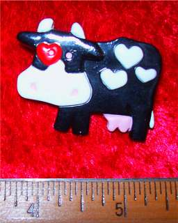 Valentines Day Vintage Love Cow Pin, Hallmark 1989