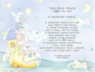 DAUGHTER LOVE YOU POEM PERSONALIZED NAME MONARCH PRINT