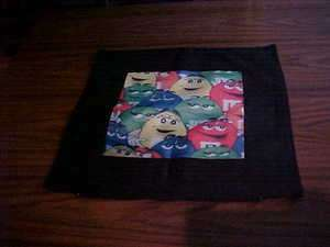 Ms M&M candy on beautiful black 18X18 throw pillow case NEW
