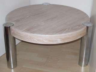 Karl Springer Manner Limed Oak & Chrome Coffee Table |