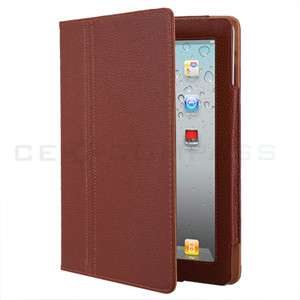 Brown Leather Smart Cover Case with Stand for Apple iPad 2