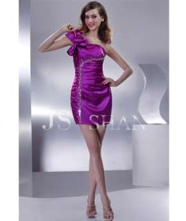 JSSHAN Purple Satin One Shoulder Beaded Casual Short Club Party