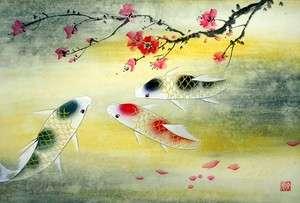 Chinese Painting Feng Shui Art Three Koi Fish&Plum Blossom a83