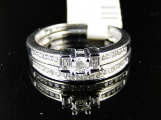 LADIES WHITE GOLD GENUINE DIAMOND BRIDAL DUO RING SET