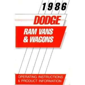 1986 DODGE RAM VAN & WAGON Owners Manual User Guide Automotive