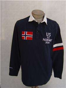 Polo Ralph Lauren Mens Rugby Navy Blue M Shirt Jacket US Norway Flag