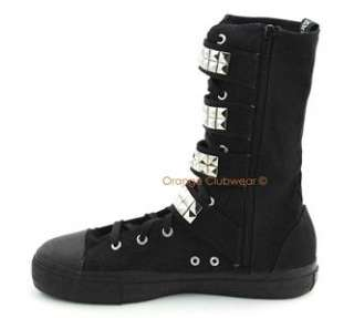 DEMONIA Goth Punk Mens Canvas Studded Sneakers Boots