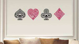 CARD ROOM POKER DIAMOND HEART CLUB SPADE VINYL WALL ART