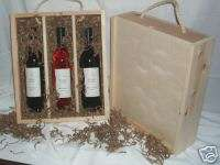 Triple Bottle Wood Wine Gift Box Crate Wood Front