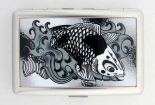 Card Holder Japanese Koi Fish Black White Metal Wallet Tattoo Art NEW