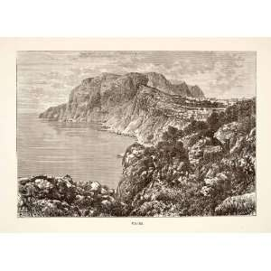Engraving Art Capri Italy Natural History Rock Formation Landscape