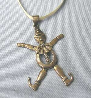 Sterling Silver Wiggly Clown Charm Pendant w/ marcasite buttons Jester