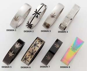 316L SURGICAL STEEL MARIJUANA LEAF, POT LEAF DESIGNS BAND RING ( PICK