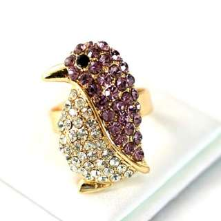 r6080 Purple Cute Penguin Gemstone Gold plate Diamante Adjustable Ring