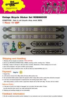 ROBIN HOOD VINTAGE BIKE BICYCLE STICKER DECAL NOS