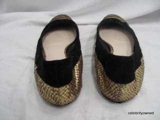 Christian Dior Gold Python/Black Suede Flats 39