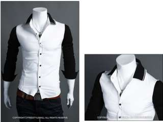 Stylish Mens Spell Casual Slim Long Sleeve Dress Shirts 2 Colors Size